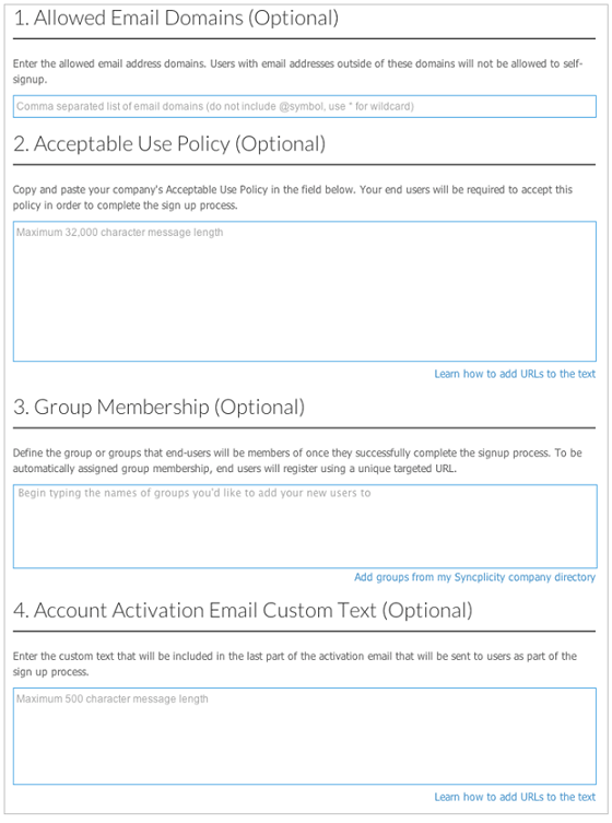 Enabling User Self Signup Support Home